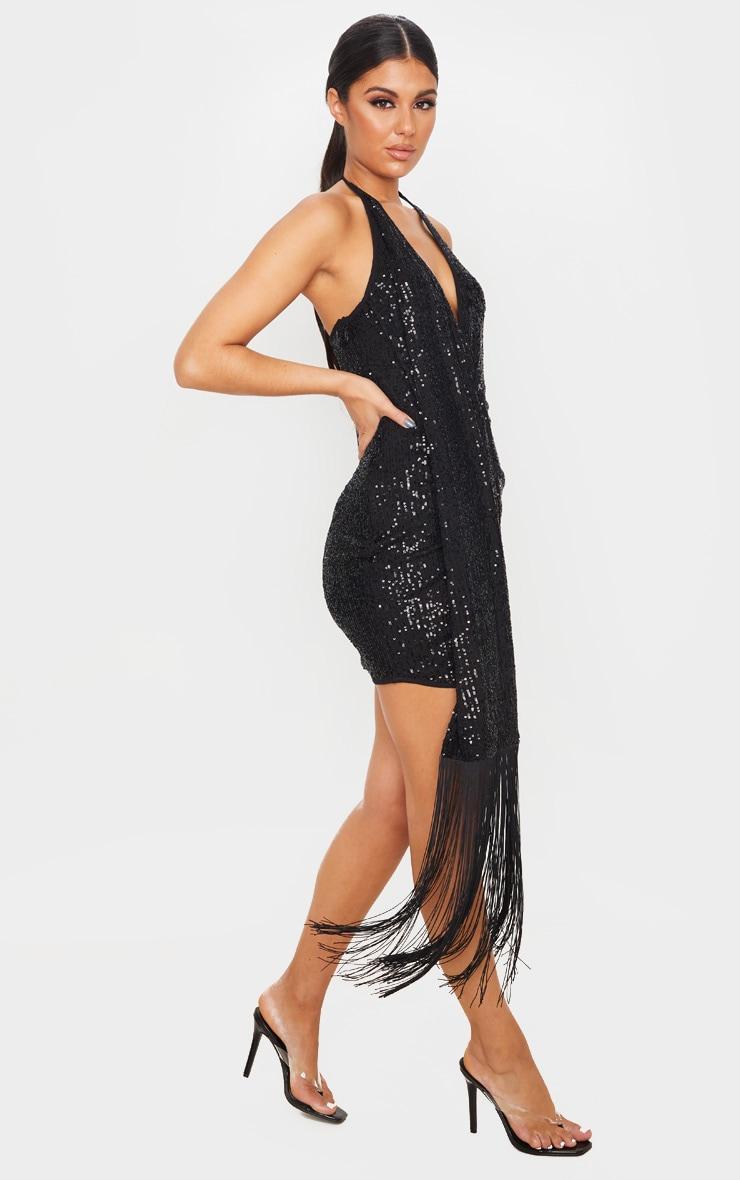 Black Sequin Halterneck Tassel Drape Bodycon Dress 4