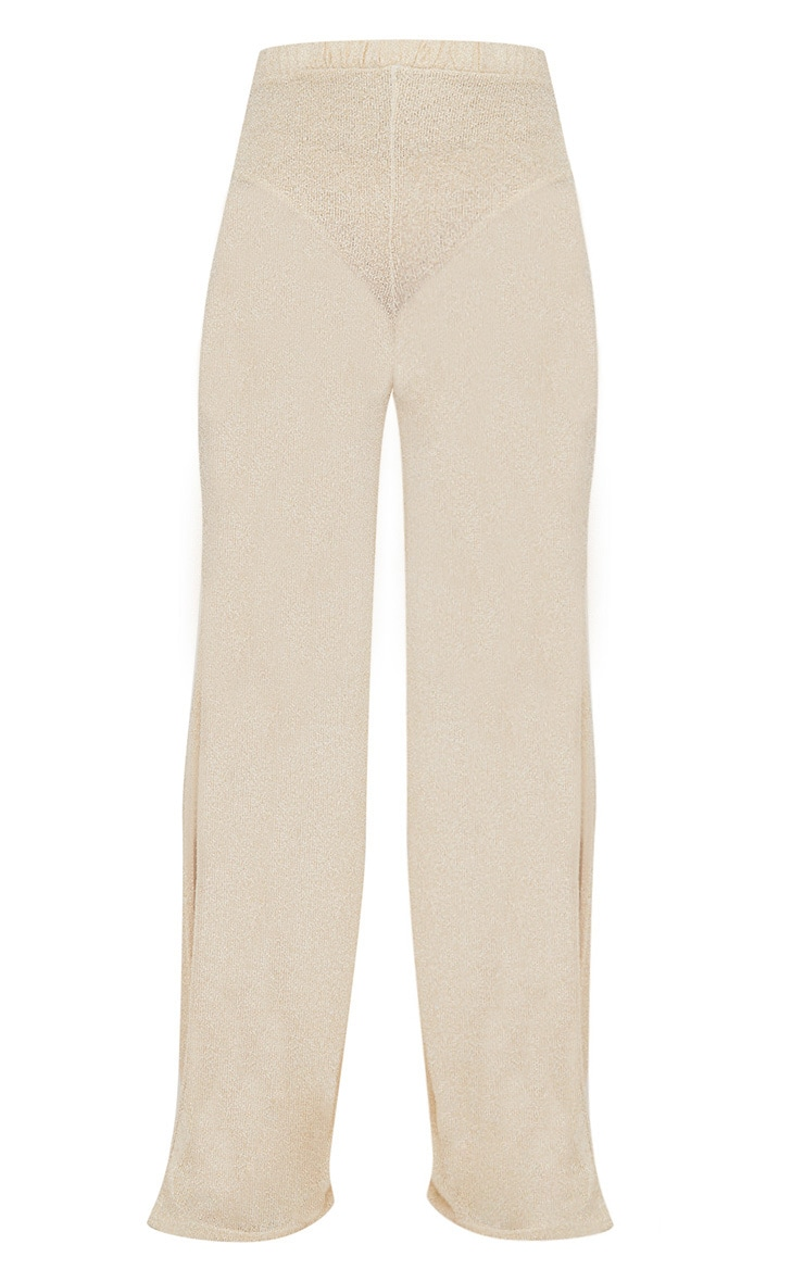 Gold Glitter Knit Flare Trouser  4