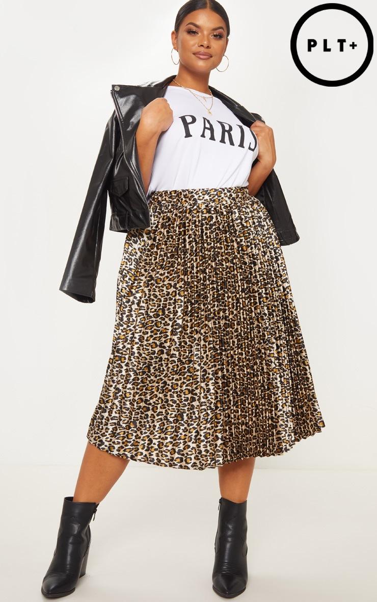 PLT Plus - Jupe mi-longue plissée marron à imprimé léopard 1