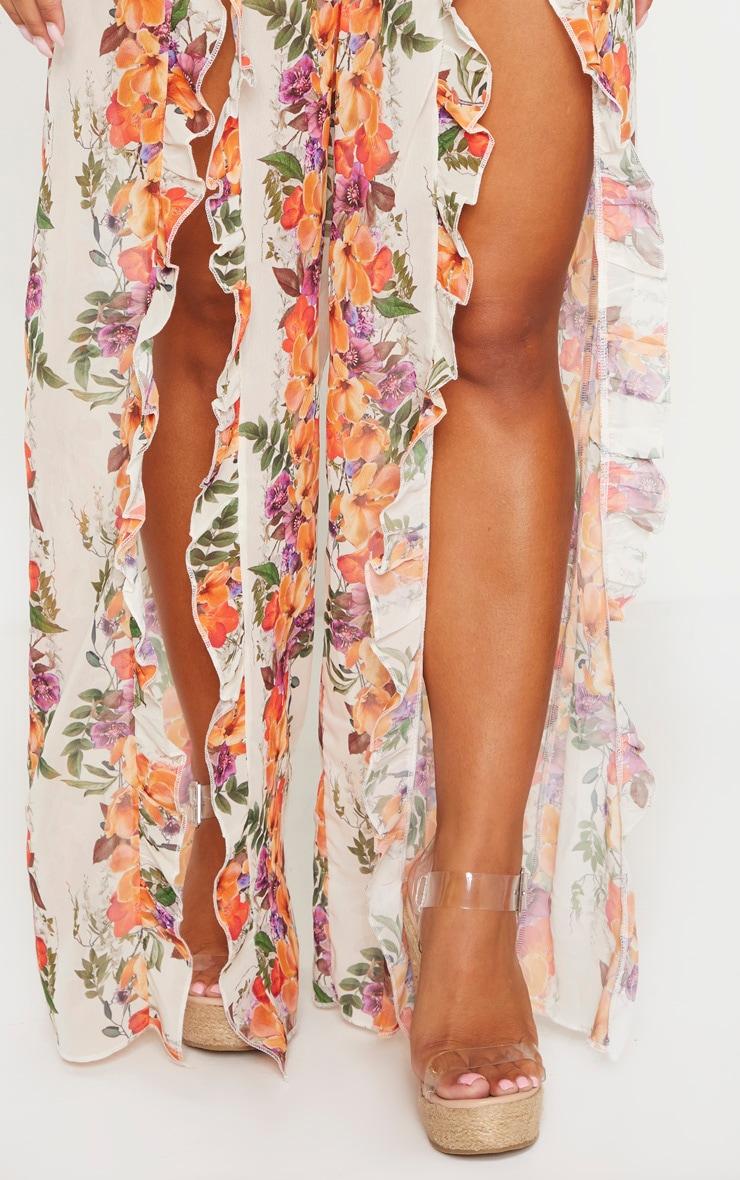 Pale Floral Frill Split Leg Beach Pants 5
