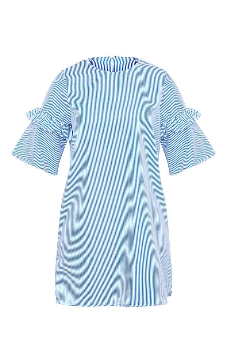 Gracey Striped Short Sleeve Frill Detail Shift Dress Blue 3