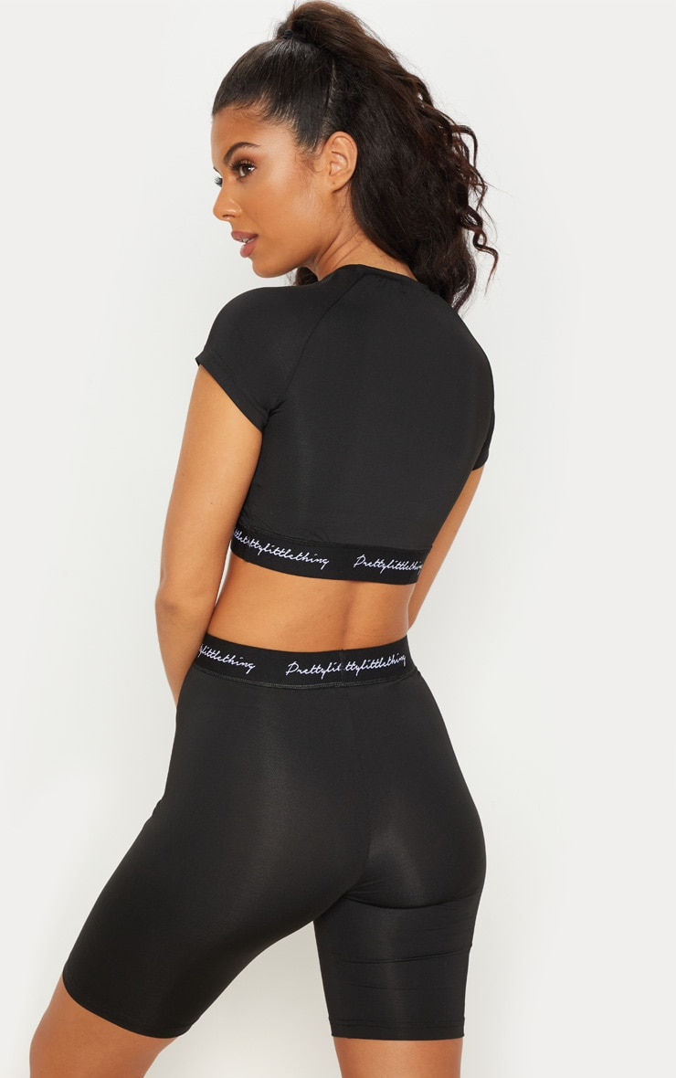 PRETTYLITTLETHING Black Band Short Sleeve Crop Top 3