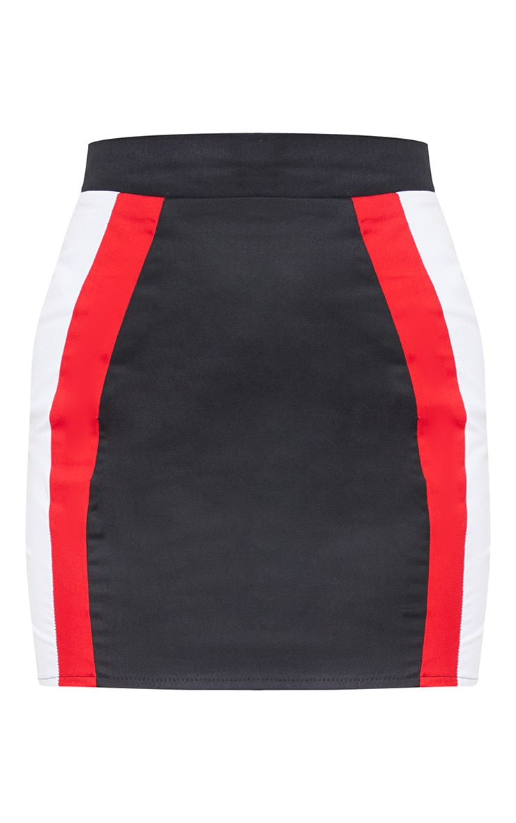 Mini-jupe noire à bandes rouges et blanches  3