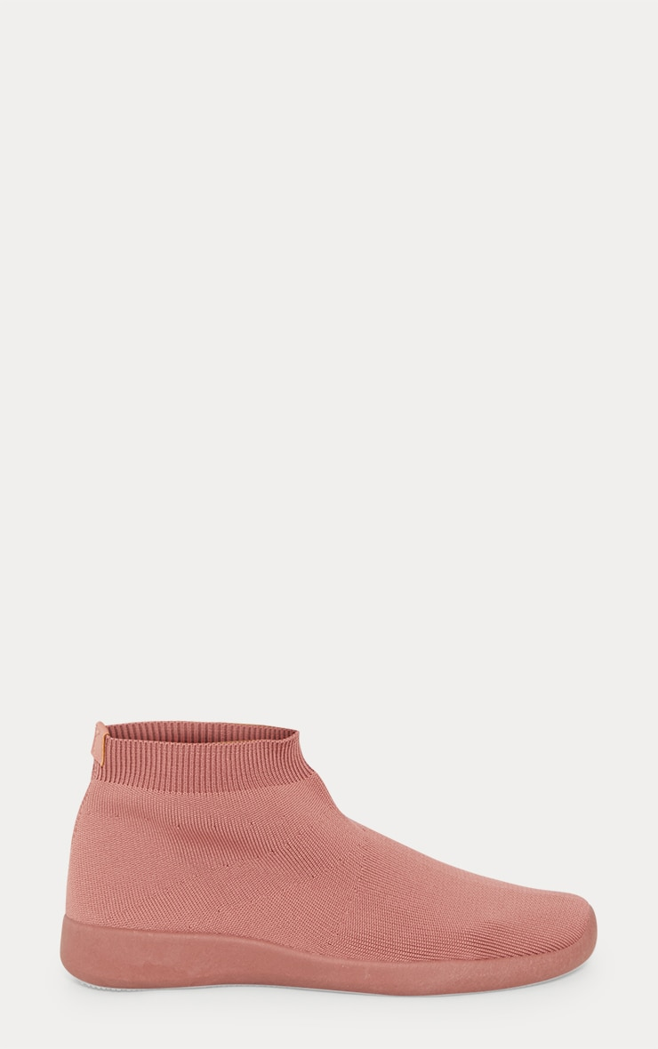 Dusty Pink Knit Sock Trainers 3