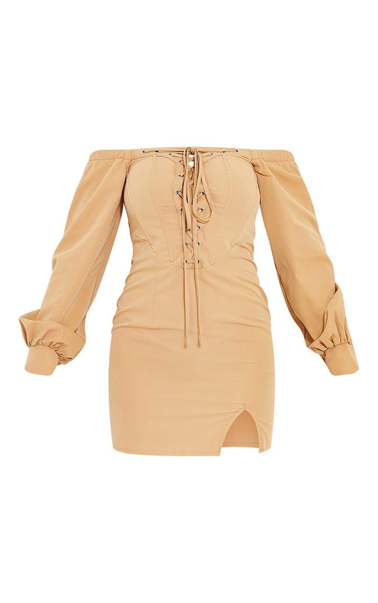 Robe moulante gris pierre style corset à détail manches ballon 5