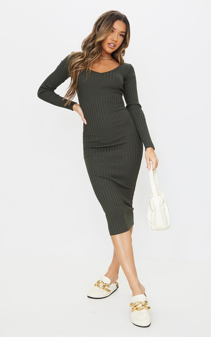 Khaki Off Shoulder Rib Knitted Midaxi Dress 1