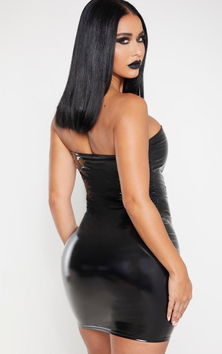 Shape Black Vinyl Bandeau Bodycon Dress 2