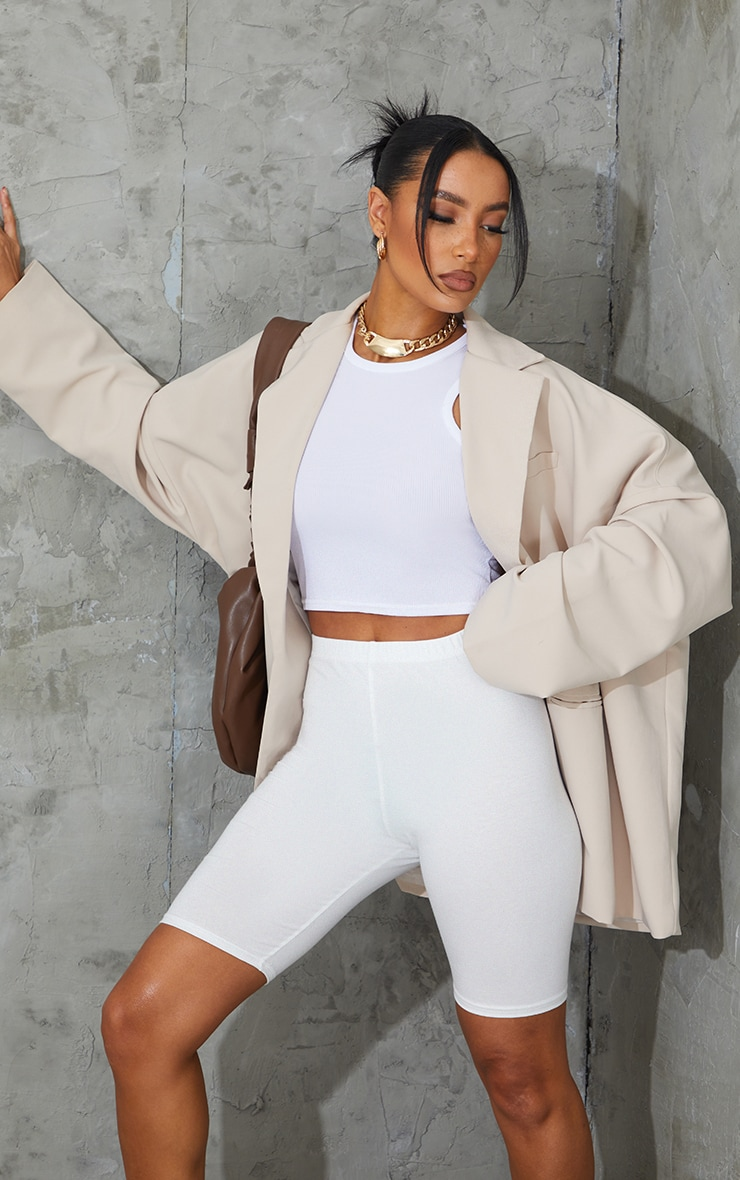 Cream Cotton Stretch Cycling Shorts image 1