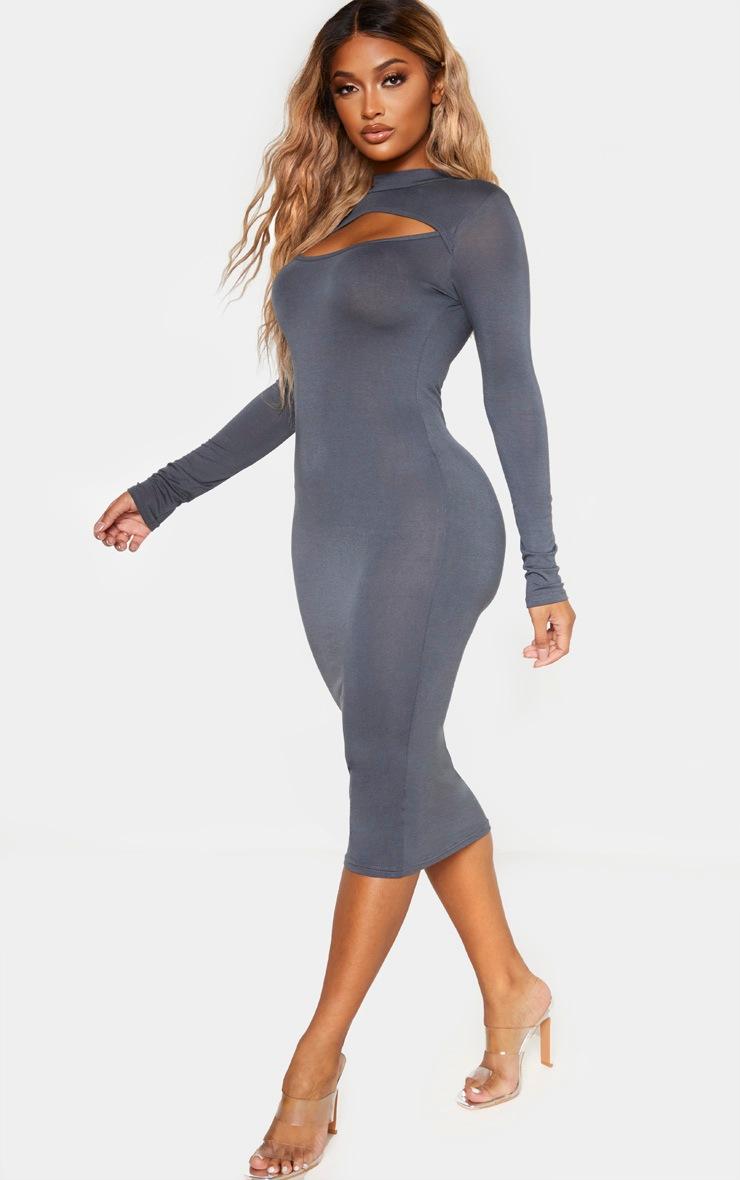 Shape Charcoal Jersey Cut Out Long Sleeve Midi Dress 4