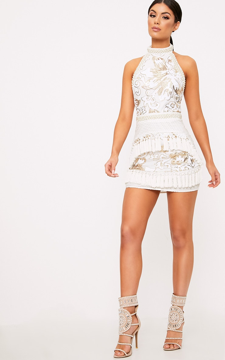 Charlyia White Premium Halterneck Sequin Tassel Bodycon Dress 5