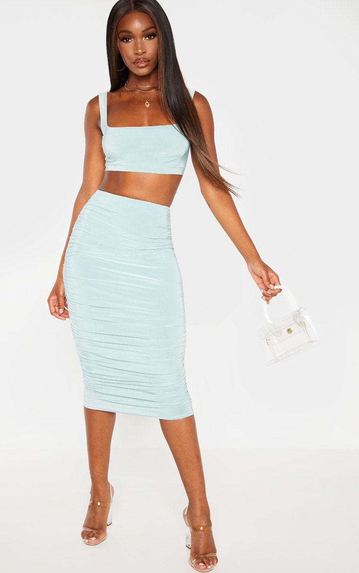 Mint Second Skin Slinky Square Neck Crop Top 4