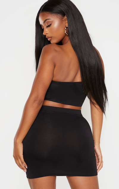 Shape Black Jersey Bandeau Crop Top