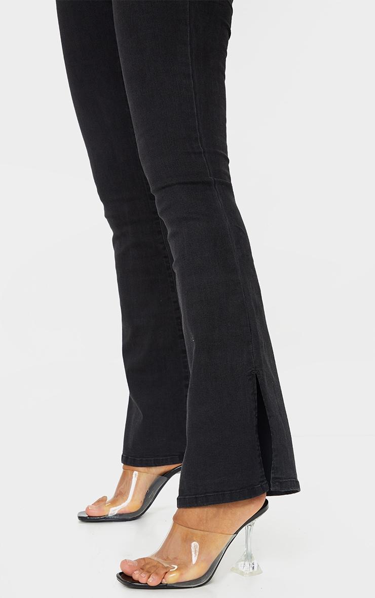 Black Split Hem Flare Jeans 4
