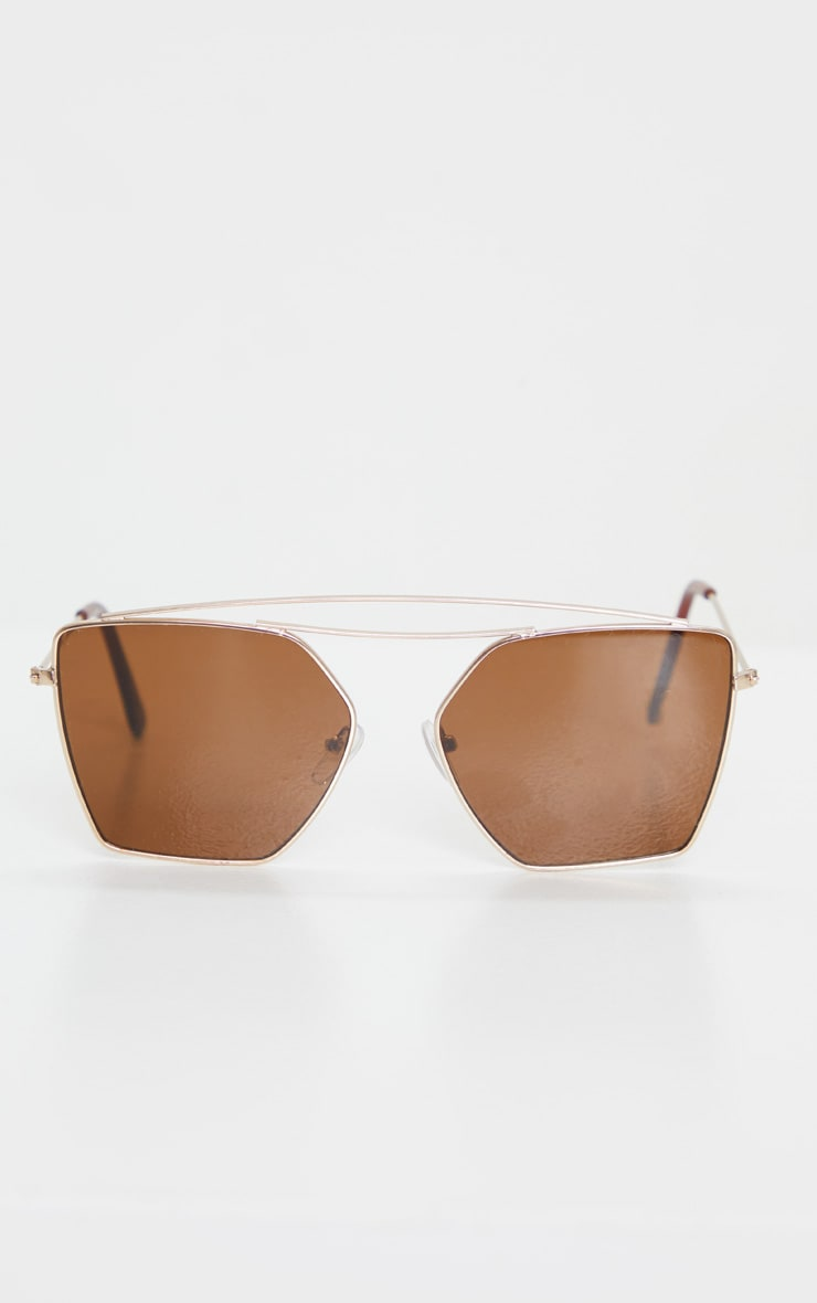 Gold Trim Double Bar Sunglasses 2