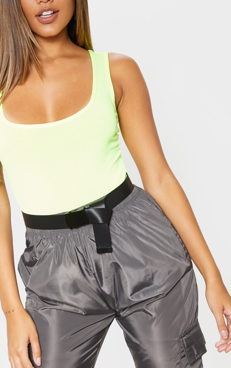 Neon Lime Scoop Neck Sleeveless Bodysuit 4