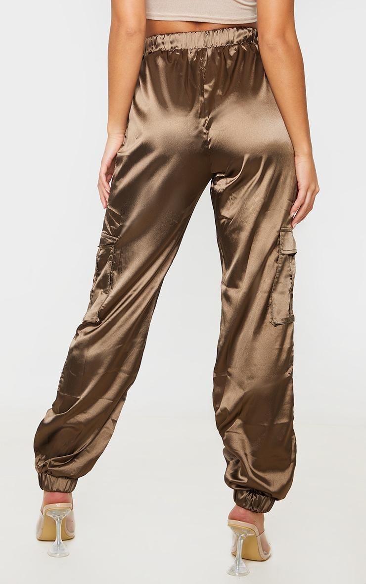Petite Khaki Satin Cargo Trouser 4