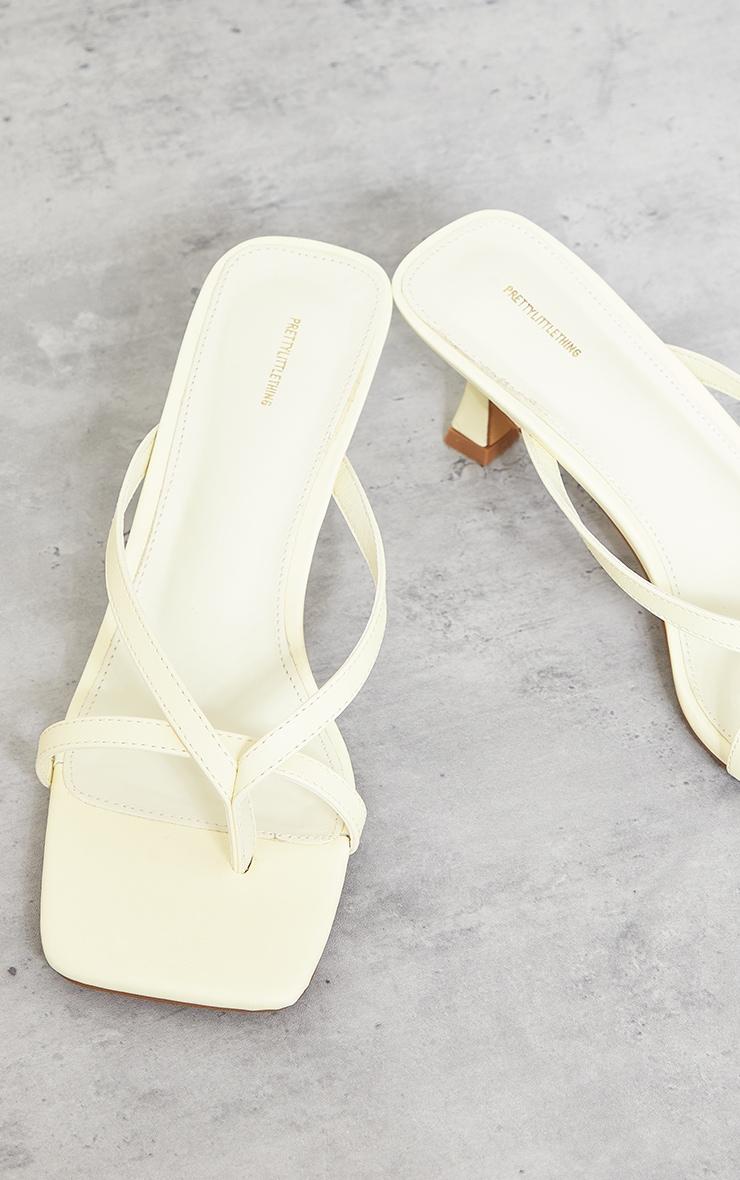 Lemon Pu Square Toe Thong Strap Low Heeled Mule Sandals 3