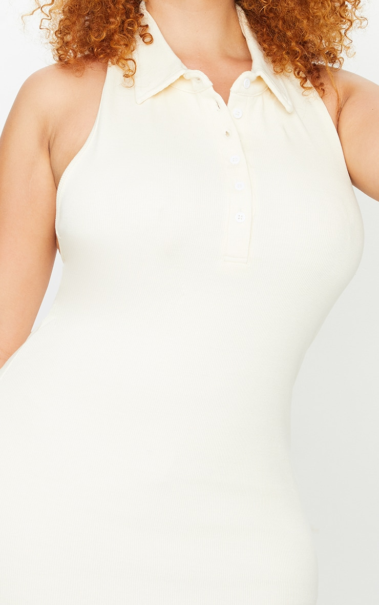 Plus Cream Rib Collar Detail Bodycon Dress 3