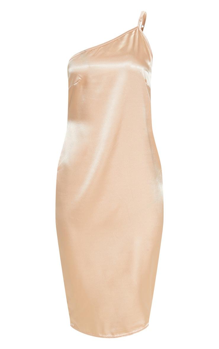 Peach Asymmetric Satin Midi Dress  3