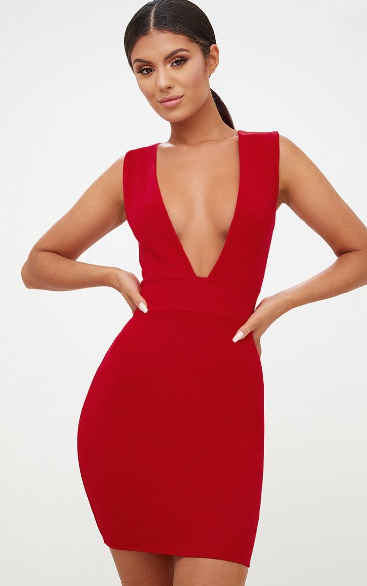 Red Extreme Plunge Sleeveless Bodycon Dress 1