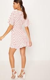 970e6f6ec8b5 Pink Heart Print Frill Wrap Over Tea Dress   PrettyLittleThing AUS