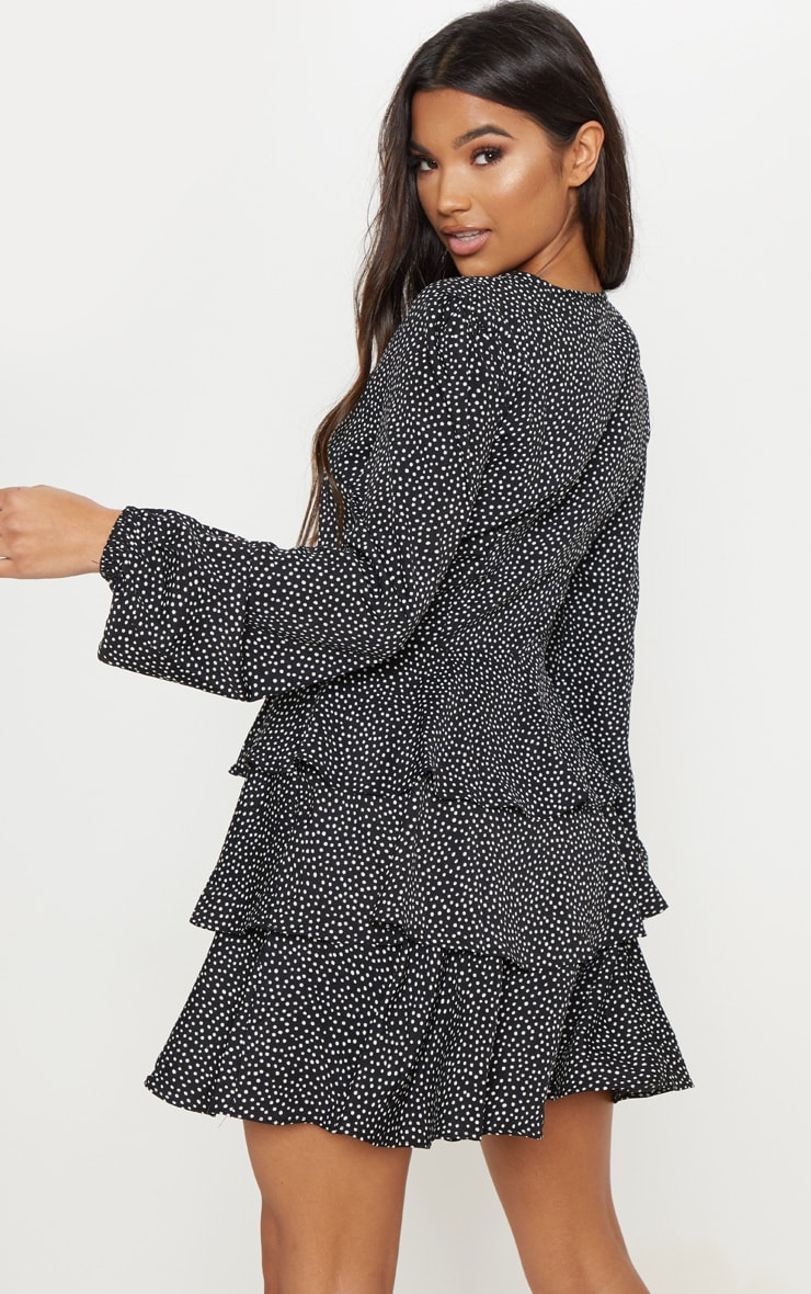 Black Polka Dot Layered Frill Tie Neck Smock Dress 2