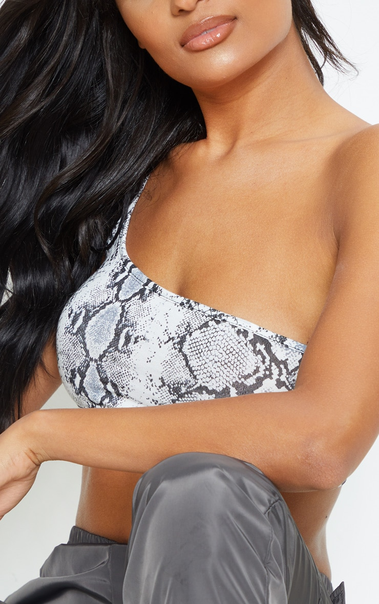Basic Grey Snake Printed One Shoulder Strappy Crop Top  5