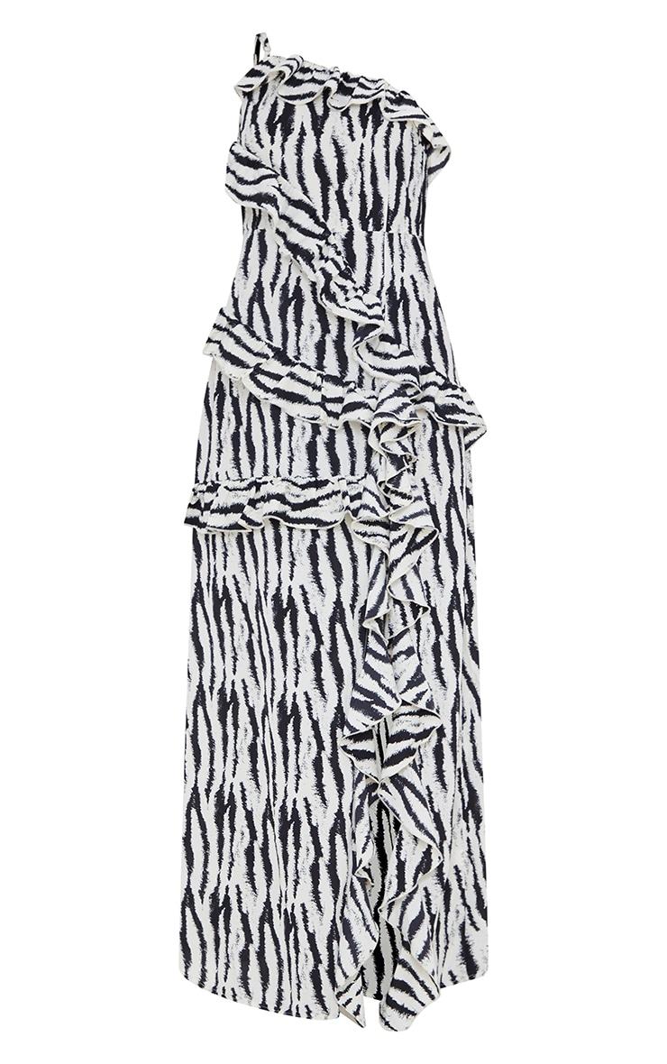 Monochrome Zebra One Shoulder Frill Split Maxi Dress 5