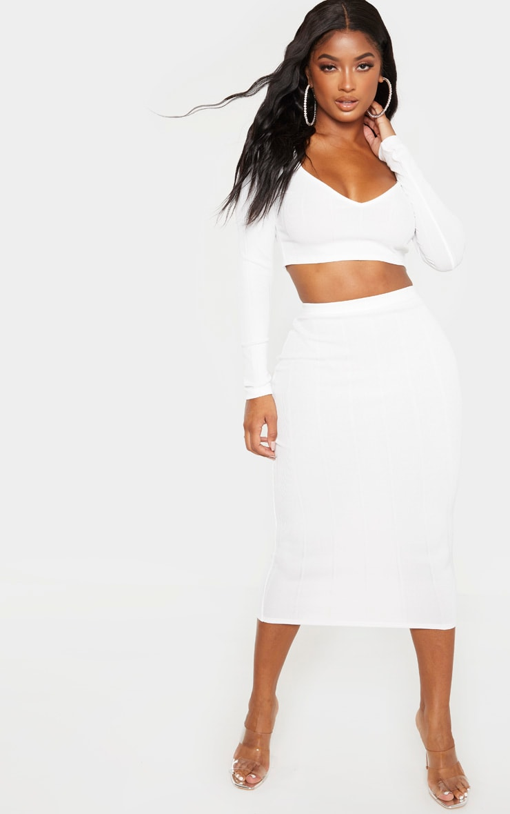 Shape Cream Bandage High Waisted Midi Skirt 1