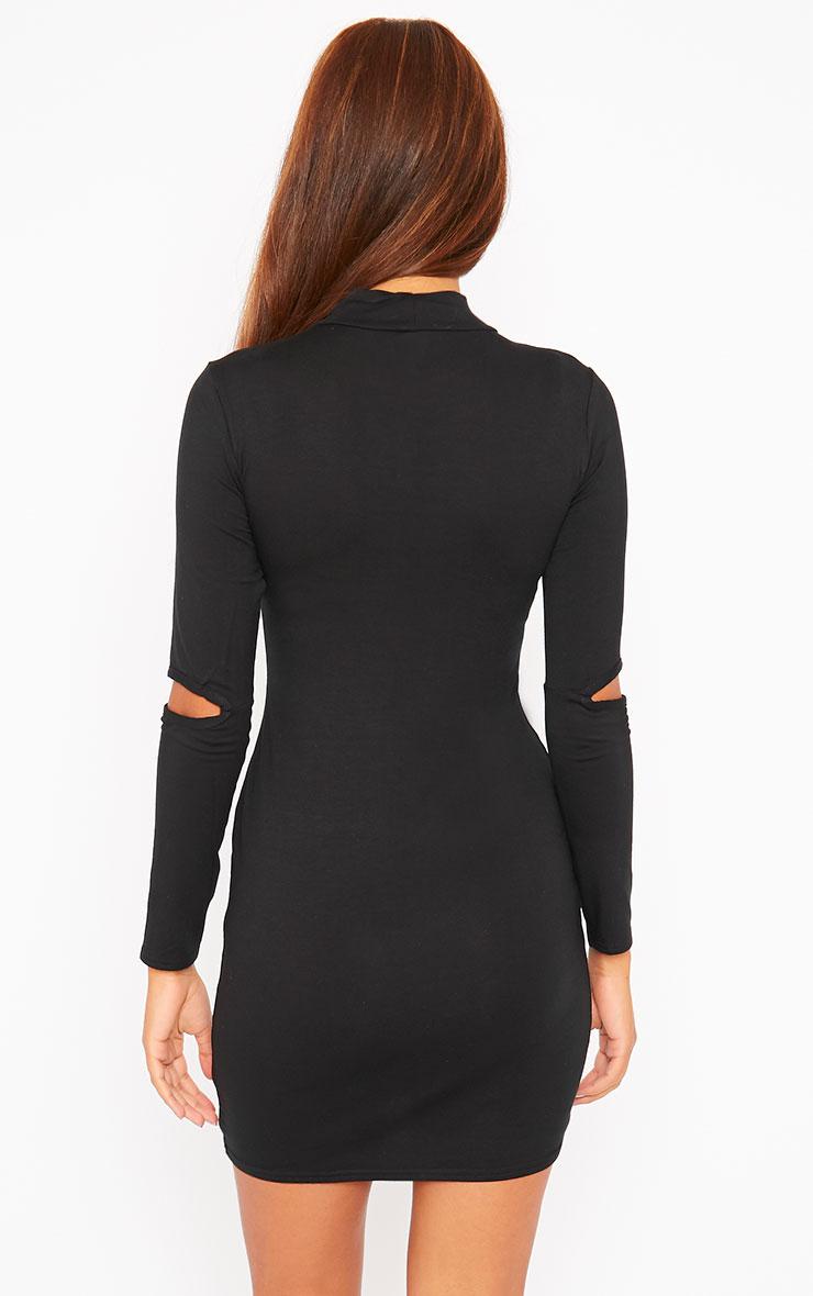Basic Black Slit Elbow Jersey Mini Dress 2