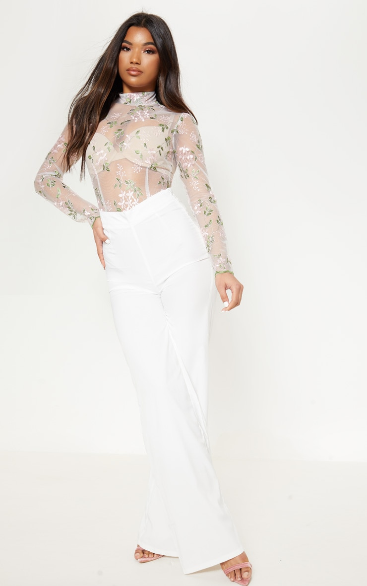 White Embroidered Sheer High Neck Long Sleeve Bodysuit 1