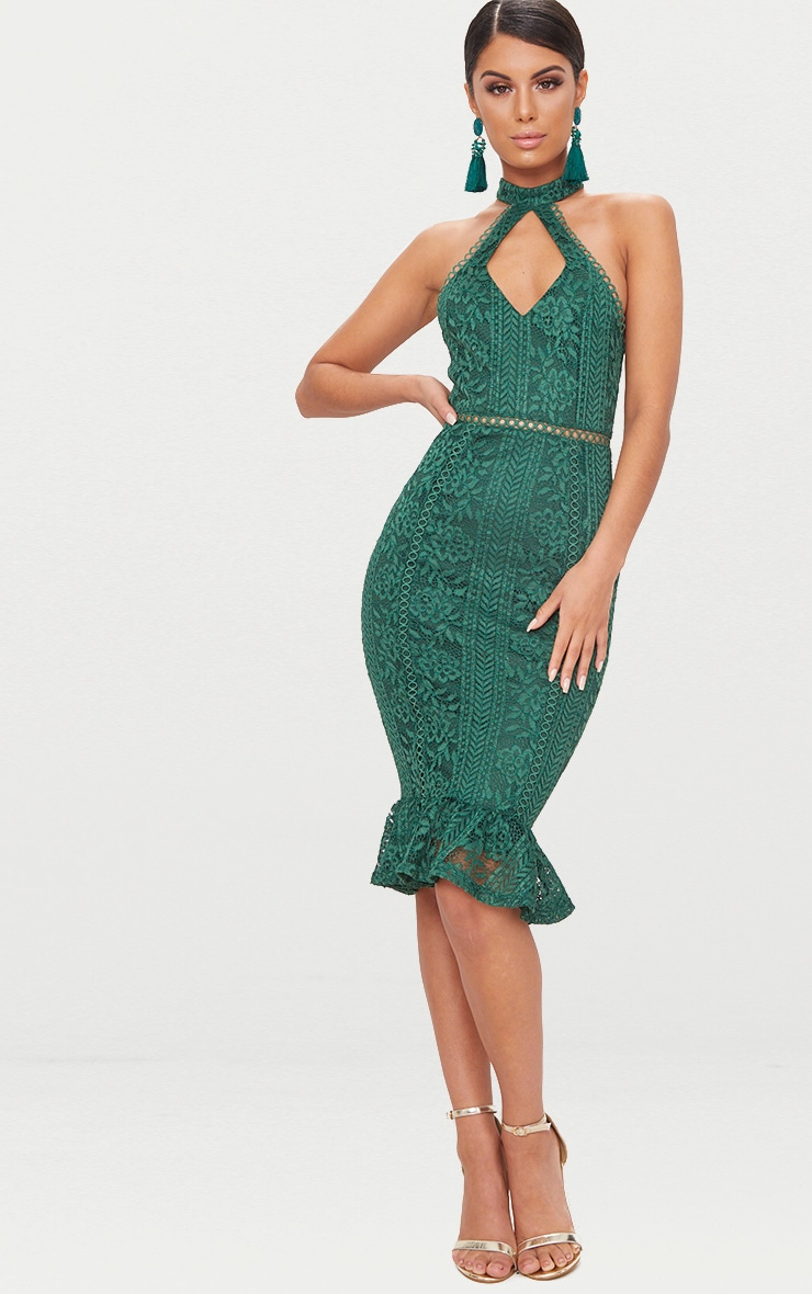 Emerald Green Lace Cut Out Frill Detail Midi Dress 1