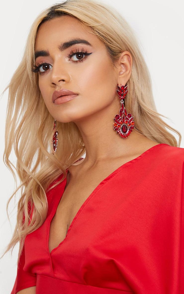Red Diamante Detail Drop Earrings 1