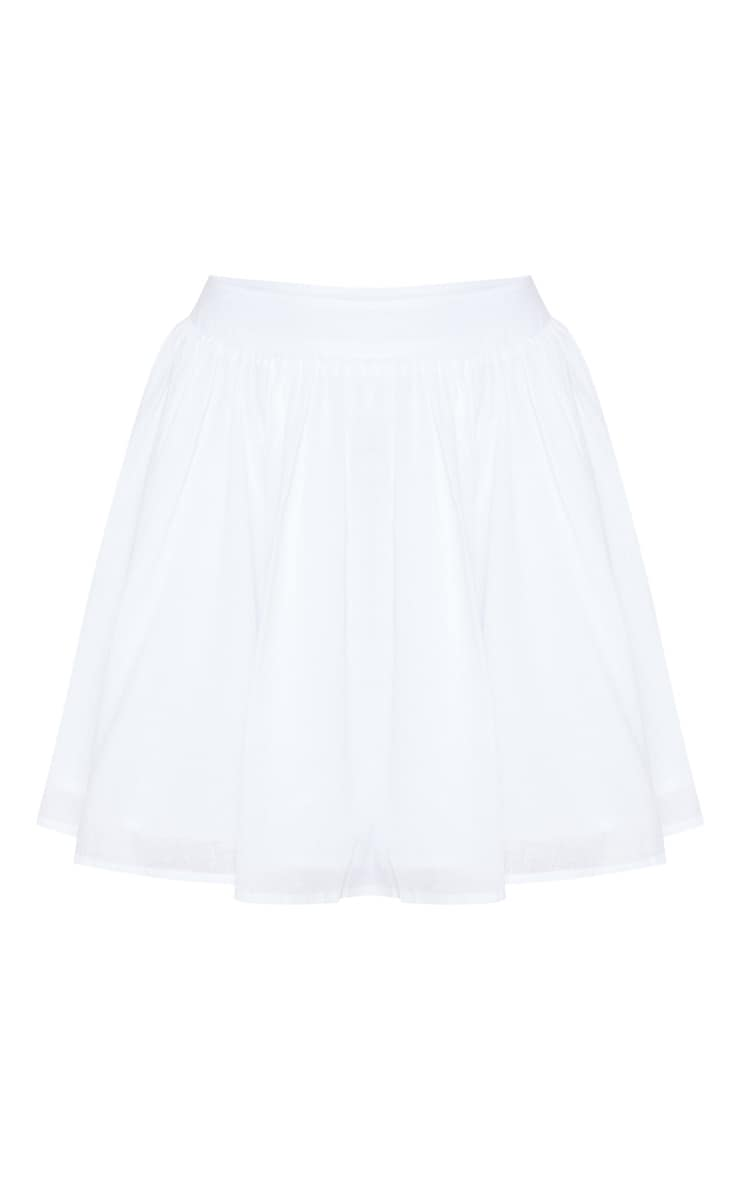 White Woven Full Skater Skirt  3