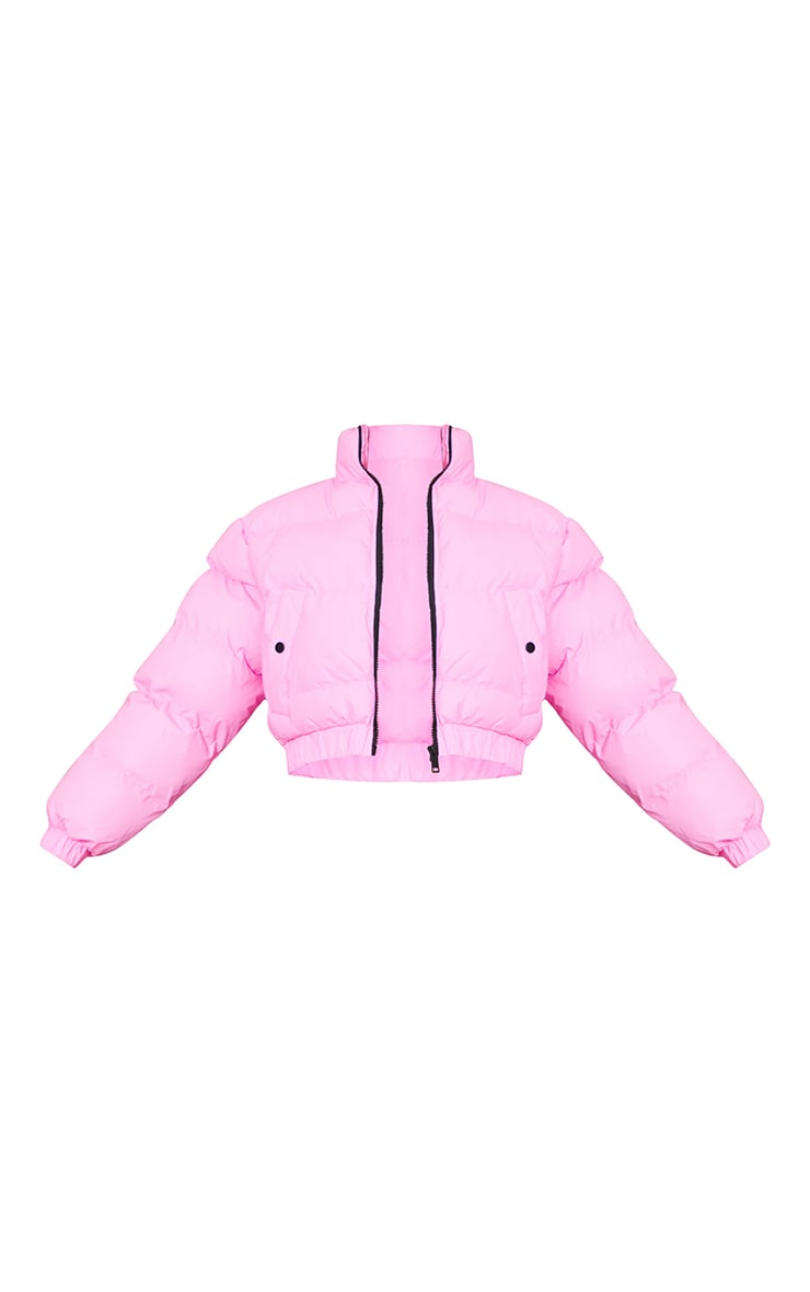 Pink Reflective Cropped Bubble Zip Detail Puffer Jacket 5