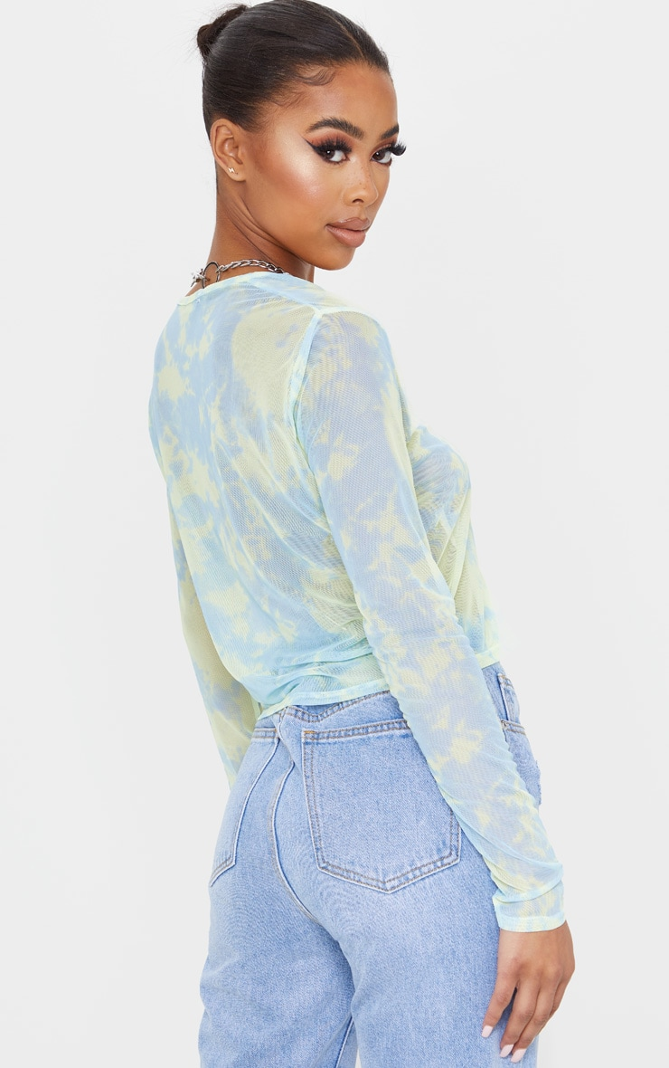 Blue Mesh Tie Dye Printed Tie Front Crop Top 2