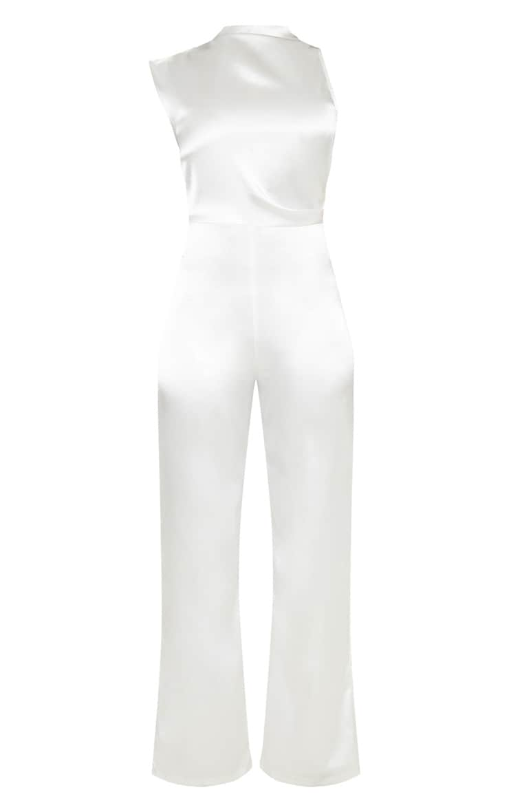Tall White Satin High Neck Jumpsuit 3