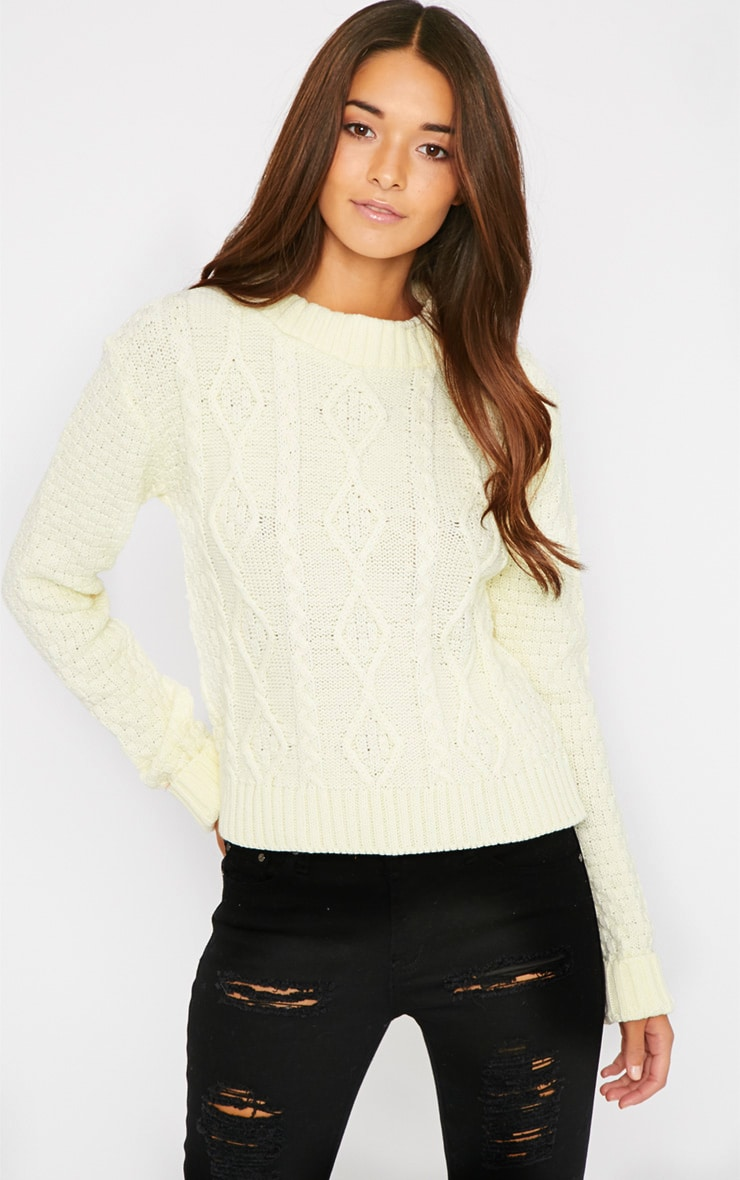 Pheebie Cream Aran Knitted Jumper  1