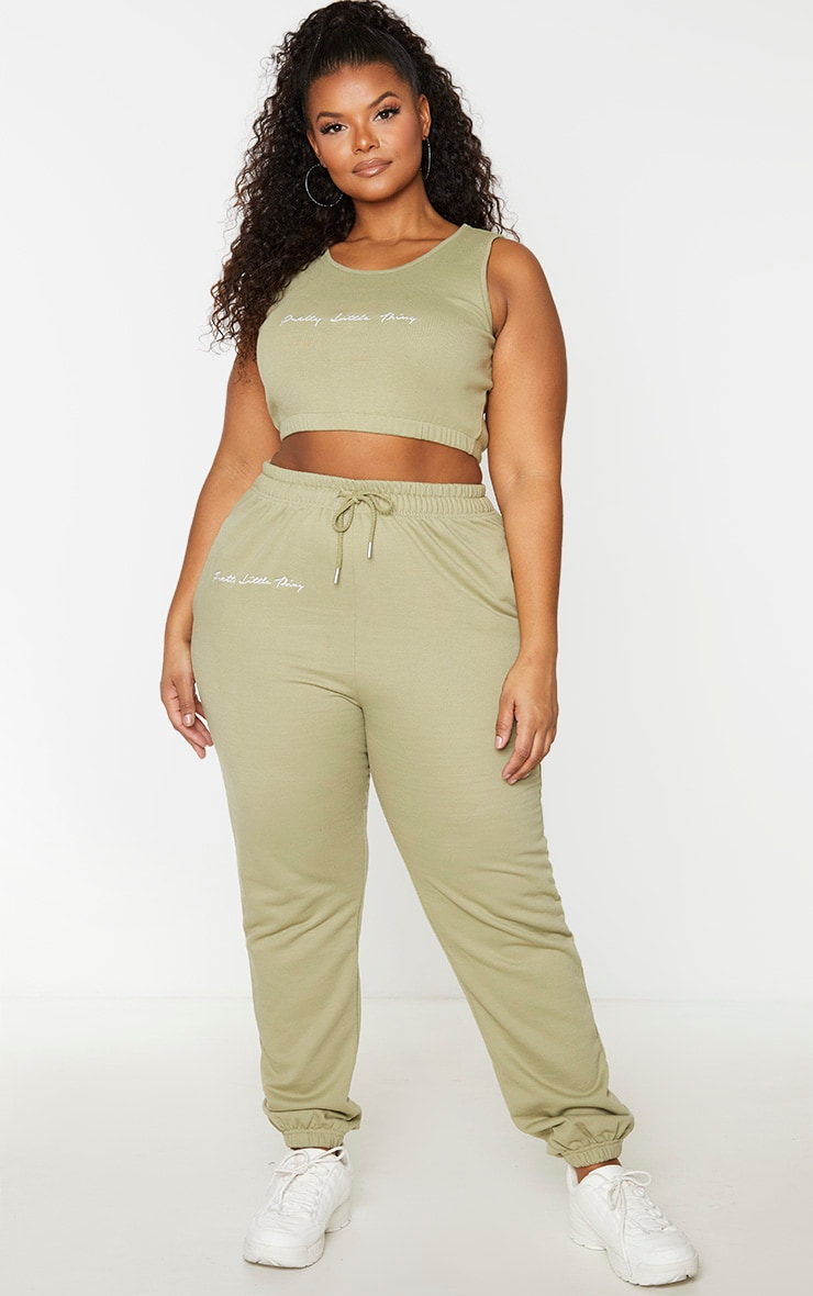 PRETTYLITTLETHING Plus Sage Green Drawstring Joggers 1