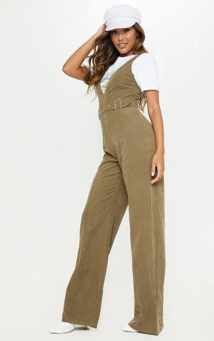 Khaki Soft Touch Belted Wide Leg Jumpsuit 4