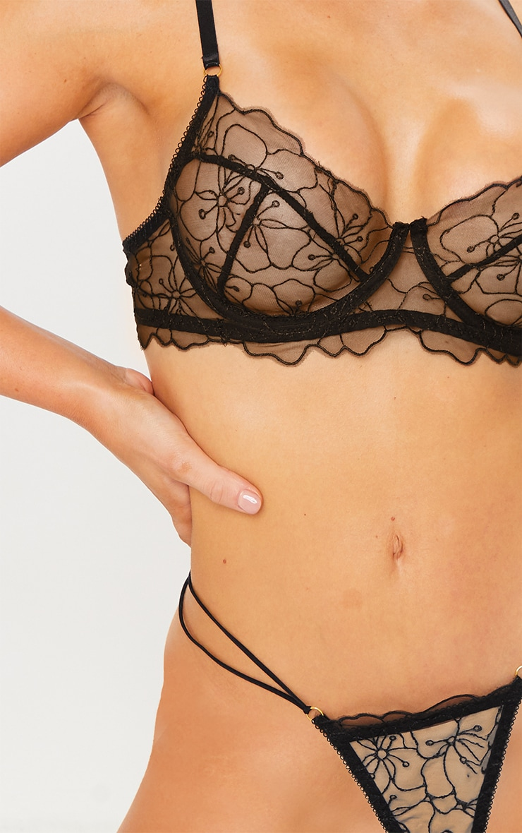Black Underwired Embroidered Floral Lace Lingerie Set 4