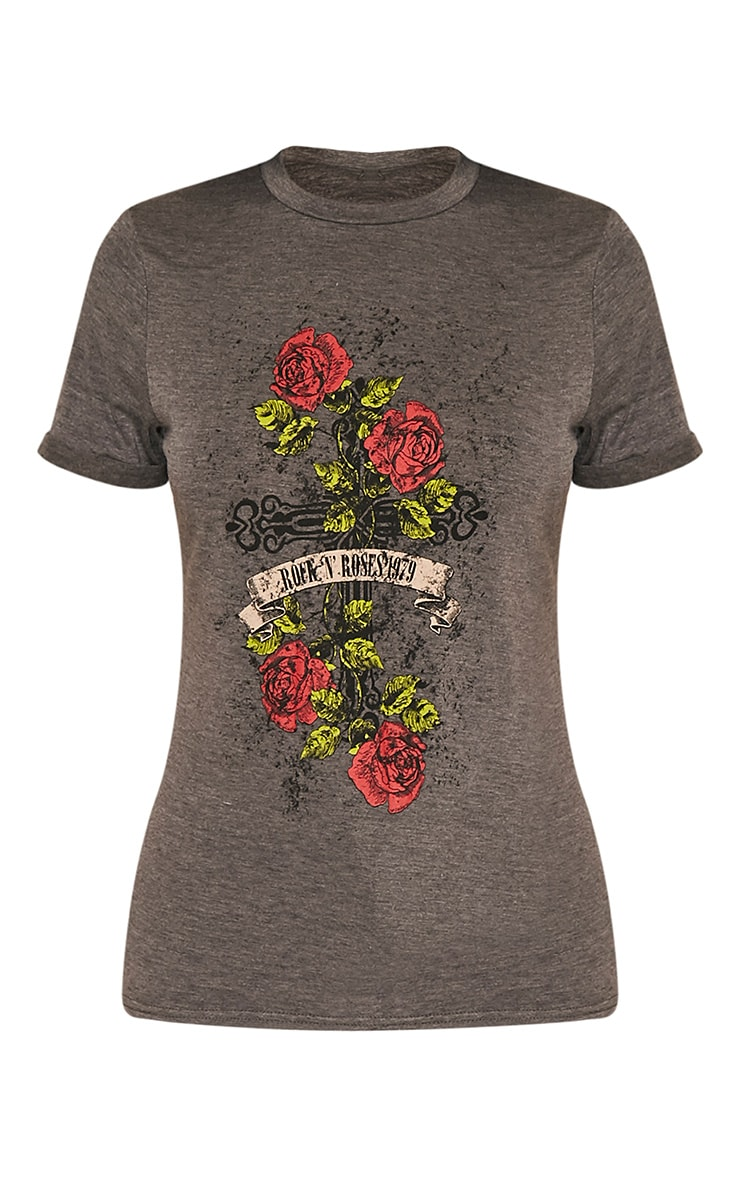 Rock & Roses Charcoal Slogan T-Shirt 3