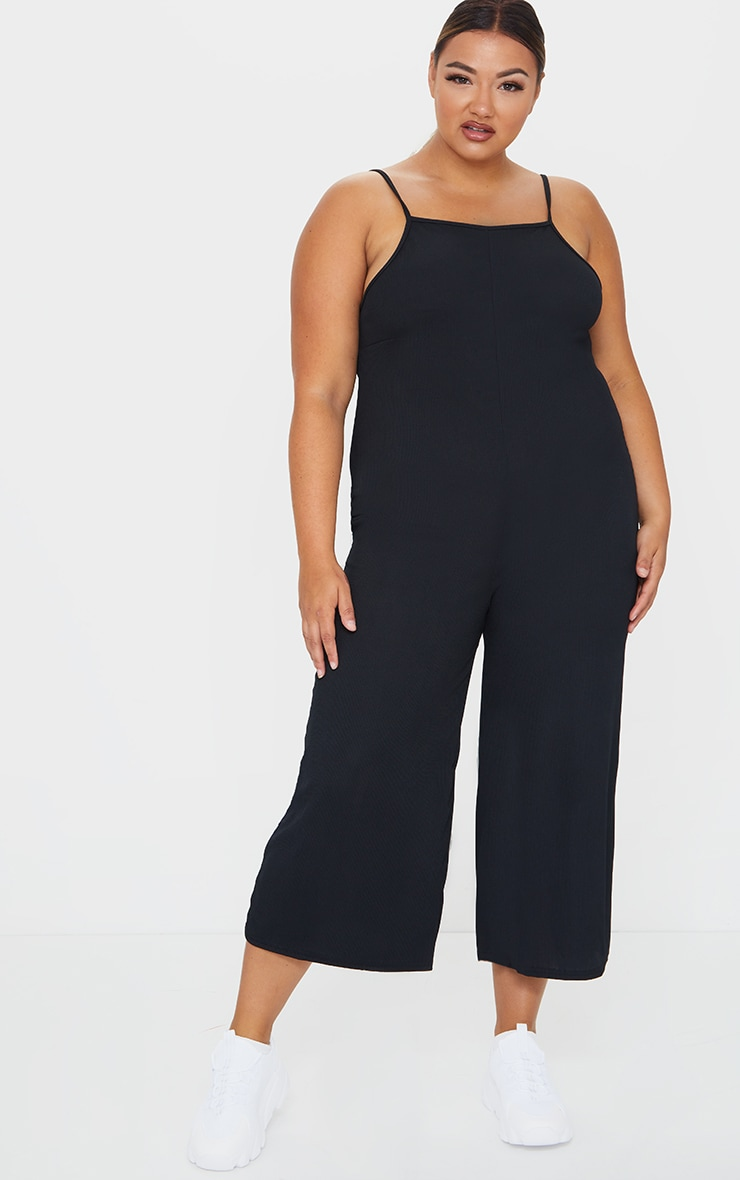 Plus Black Rib Wide Leg Culotte Jumpsuit 1
