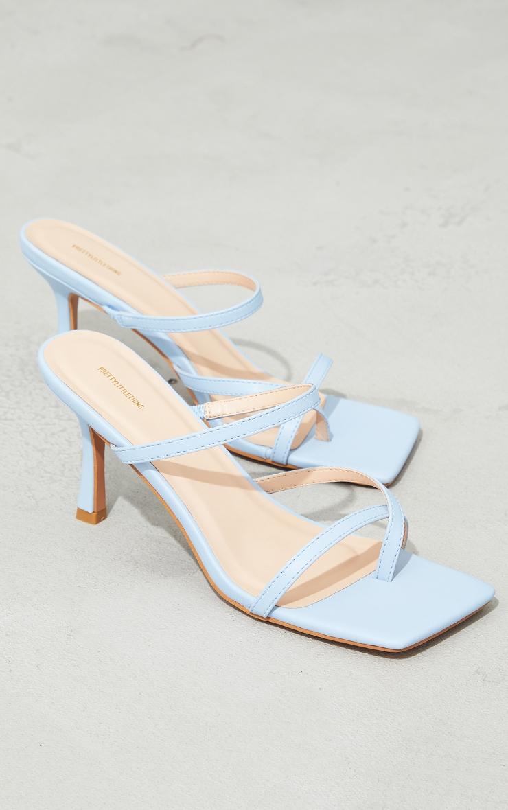 Blue Toe Loop Low Heel Mules 4