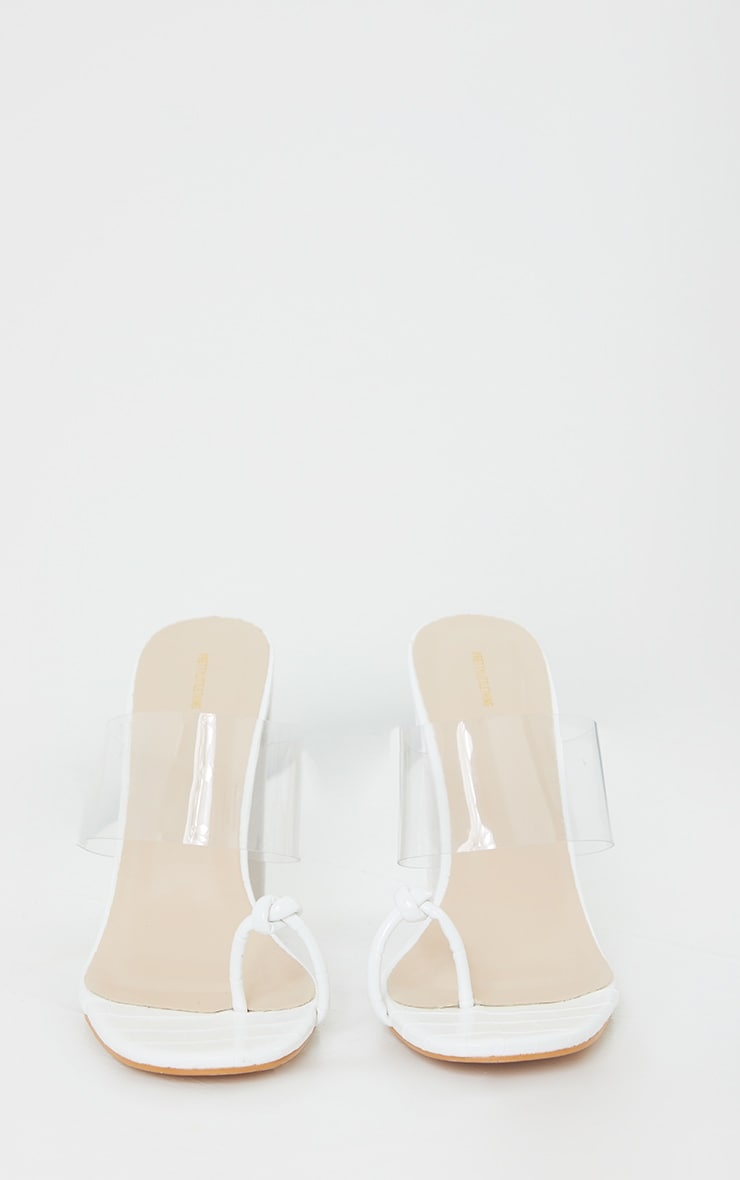 White Toe Knot Clear Strap Block Heel Mules 3
