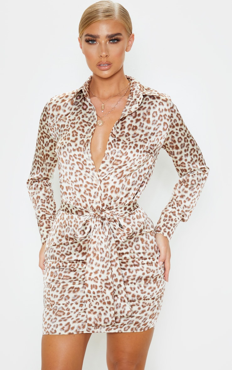 Beige Leopard Satin Ruched Shirt Dress 1