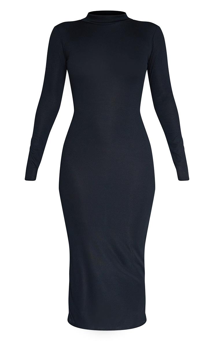 Black Rib Wrap Open Back High Neck Midaxi Dress 5