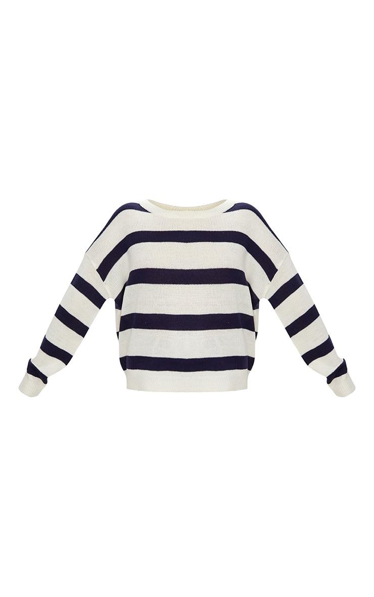 Cream Wide Stripe Jumper 2
