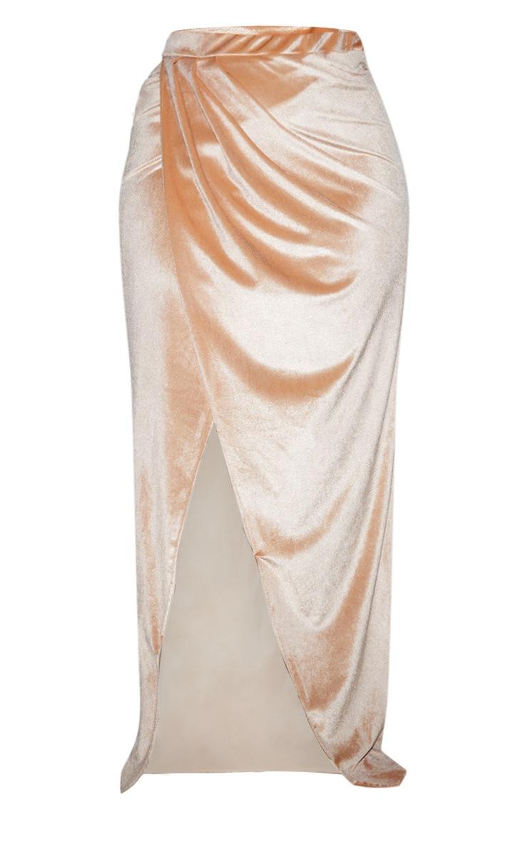 Plus Champagne Velvet Wrap Maxi Skirt 5