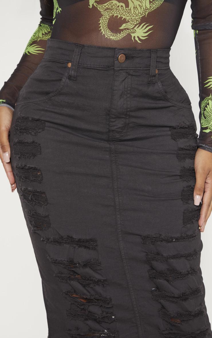 Shape - Jupe mi-longue en jean gris anthracite à détail déchiré 5